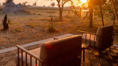 Okavango Hidden Gems - Okavango Delta - Botswana - Maru Camp - Luxury Tented Safari Camp - Tent Exterior - Sunset View