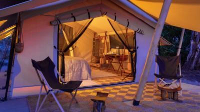 Okavango Hidden Gems - Okavango Delta - Botswana - Maru Camp - Luxury Tented Safari Camp - Tent Exterior at Night